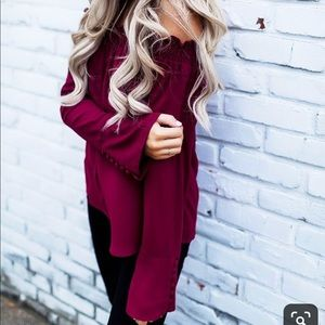 Tops - Maroon Off The Shoulder Blouse